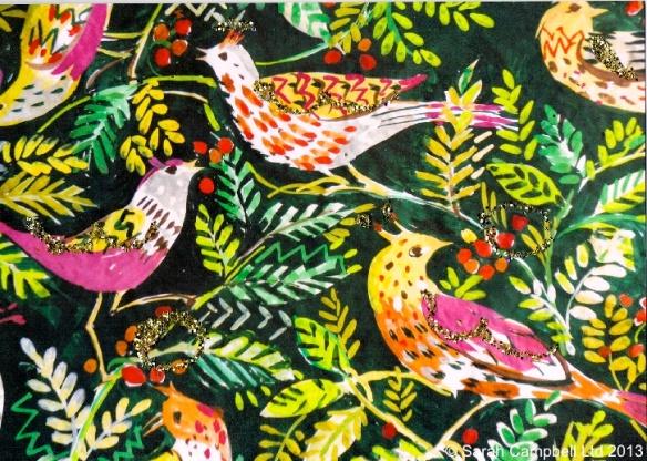 leafy birds glitter