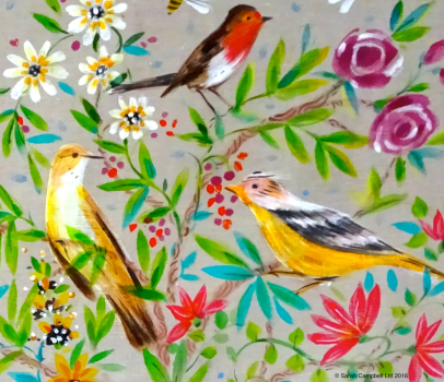 painted linen birds