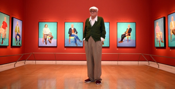 Artist David Hockney poses for photographs in the Sackler Wing at the Royal Academy of Arts, London, where an exhibition of his work entitled 'David Hockney RA: 82 Portraits and 1 Still-life', is on display to the public from July 2nd. PRESS ASSOCIATION Photo. Picture date: Monday June 27, 2016. Photo credit should read: Andrew Matthews/PA Wire