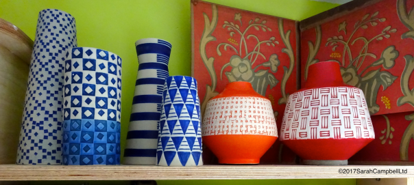 vases on shelf