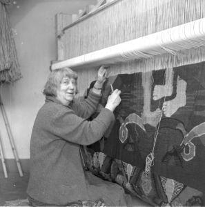 portrait of Hannah Ryggen weaving