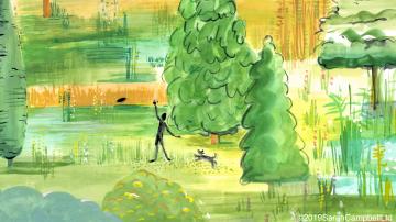 Central Park artwork, detail of man & dog