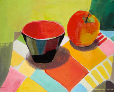 an apple and a bowl